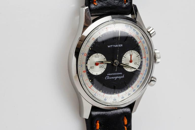 Wittnauer Stainless Steel Professional Chronograph Wristwatch c. 1960's 9
