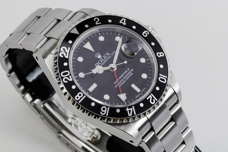 Rolex Stainless Steel GMT Master II Ref 16710  Wristwatch For Sale 4