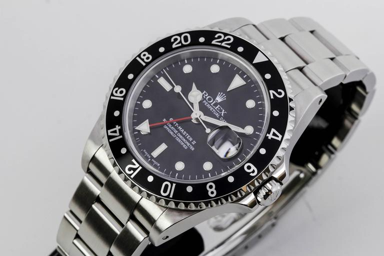 Rolex Stainless Steel GMT Master II Ref 16710  Wristwatch For Sale 3