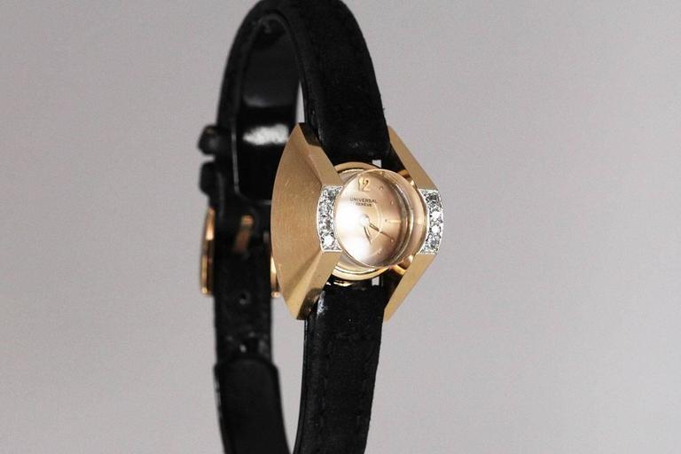 Universal Geneve Ladies Yellow Gold Diamond Wristwatch 3