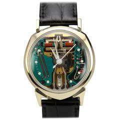 Bulova White Gold Accutron Quartz Spaceview Wristwatch