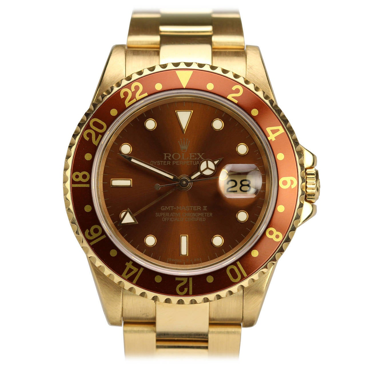 rolex yellow gold gmt master ii wristwatch ref 16718 at. Black Bedroom Furniture Sets. Home Design Ideas