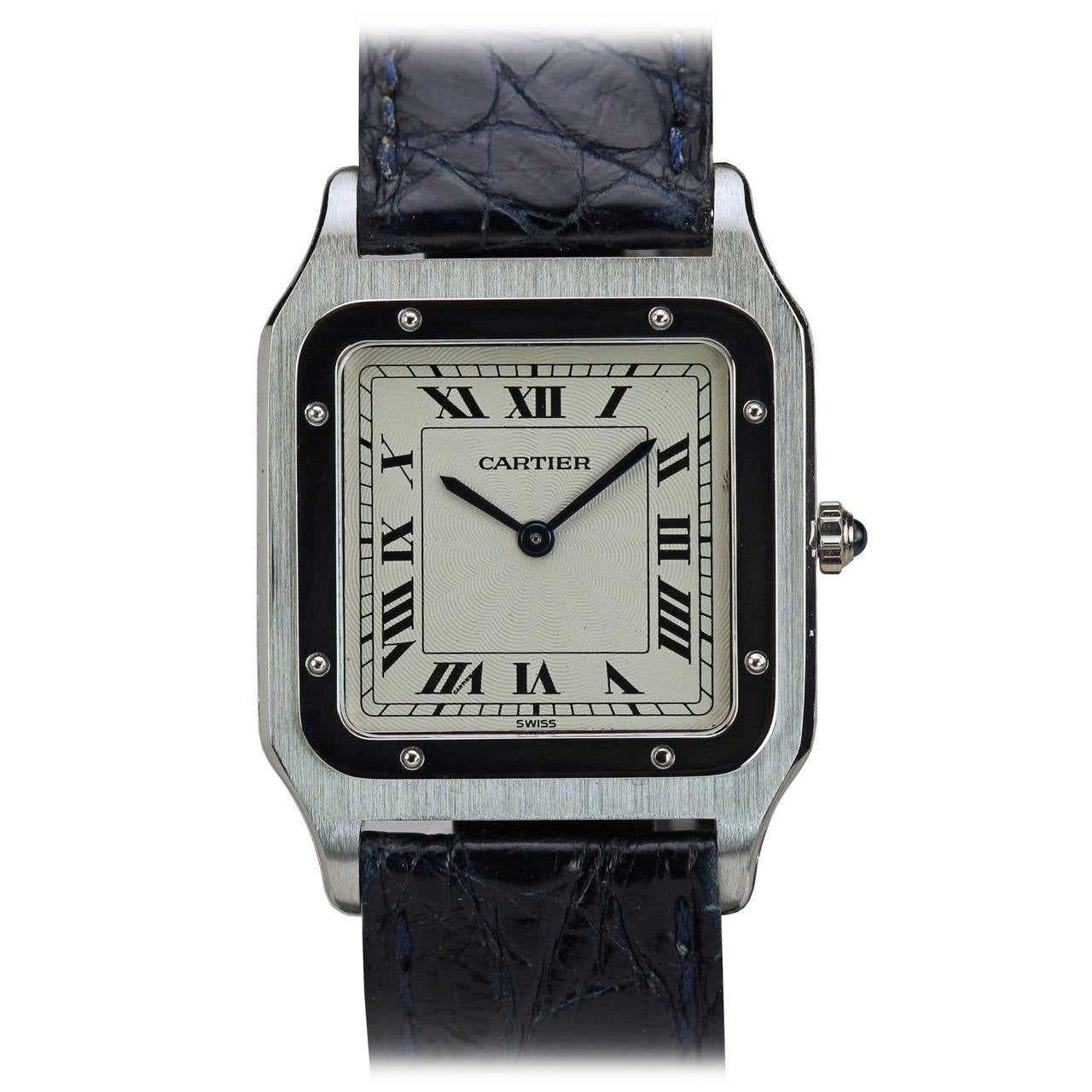 Cartier Platinum: Cartier Platinum Thin Santos Manual Wind Wristwatch At 1stdibs