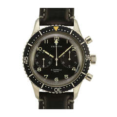 Zenith Stainless Steel Military Chronograph Wristwatch circa 1970s
