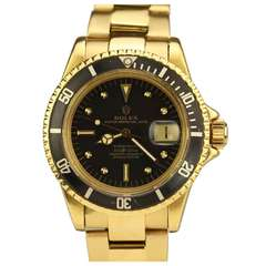 Rolex Yellow Gold Submariner Date Wristwatch Ref 1680 circa 1971