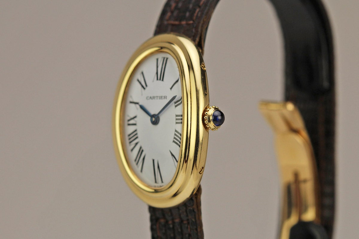 cartier lady 39 s yellow gold baignoire wristwatch at 1stdibs. Black Bedroom Furniture Sets. Home Design Ideas