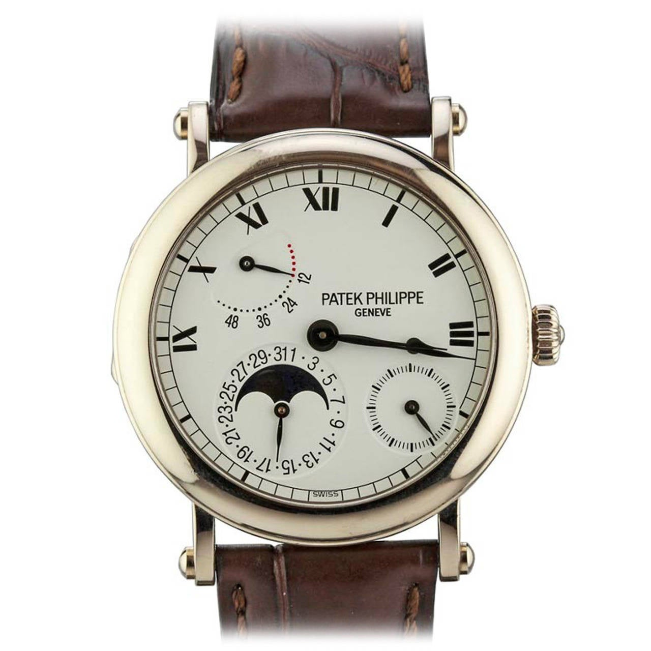 Patek philippe white gold power reserve moonphase wristwatch ref 5054g at 1stdibs for Patek philippe moonphase