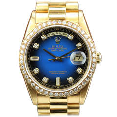 Rolex Yellow Gold and Diamond Day-Date Wristwatch with Blue Vignette Dial