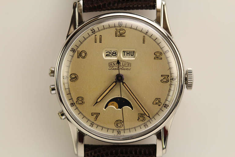 Angelus Stainless Steel Datoluxe Wristwatch 3