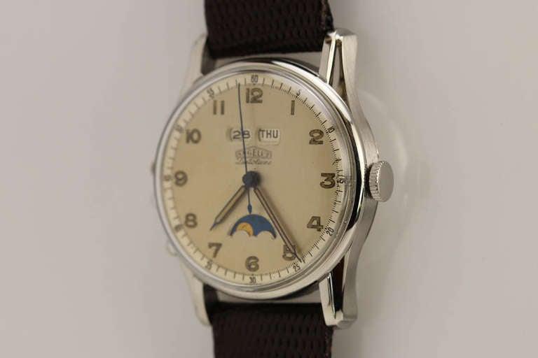 Angelus Stainless Steel Datoluxe Wristwatch 4