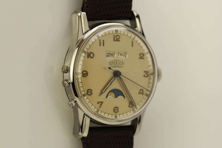 Angelus Stainless Steel Datoluxe Wristwatch 5