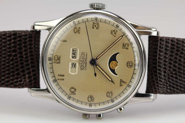 Angelus Stainless Steel Datoluxe Wristwatch 9