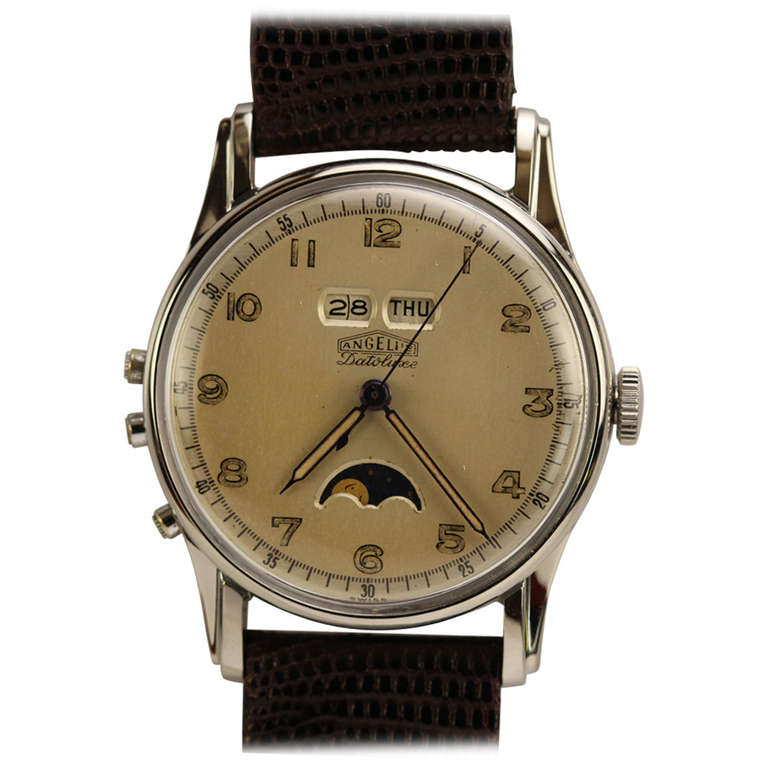 Angelus Stainless Steel Datoluxe Wristwatch 1