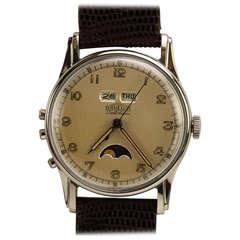 Angelus Stainless Steel Datoluxe Wristwatch