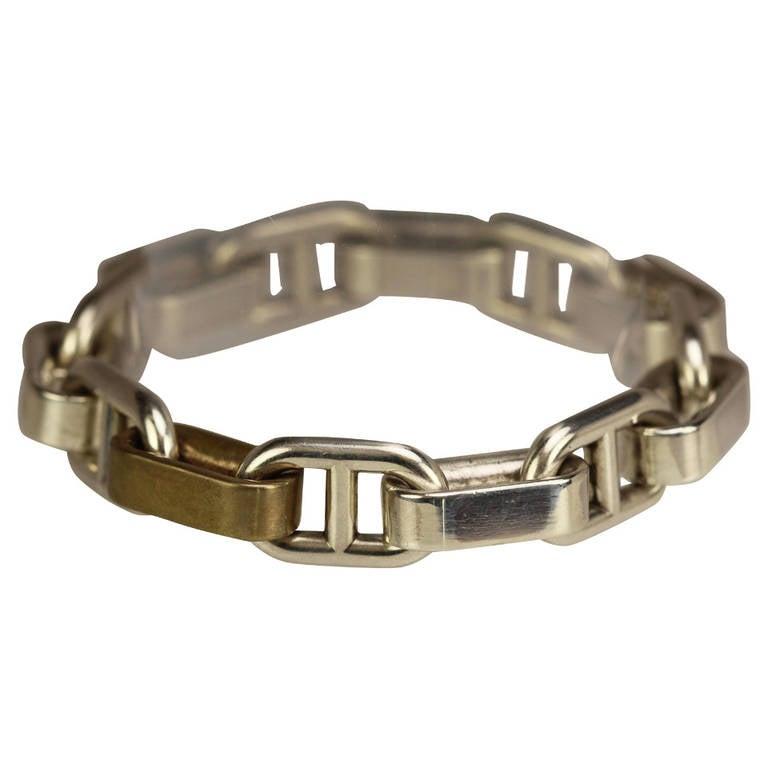 Vintage Hermes Sterling Silver Link Bracelet At 1stdibs