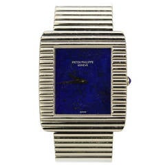 Patek Philippe White Gold Wristwatch with Bracelet and Lapis Dial Ref 3733/1