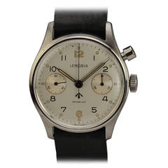 Lemania Stainless Steel Military Single-Button Chronograph Wristwatch