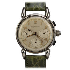 Record Stainless Steel Split-Second Chronograph Wristwatch circa 1940s