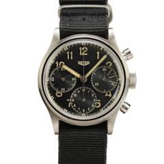 Heuer Stainless Steel Chronograph Wristwatch circa 1940s
