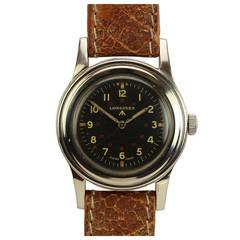 Longines Stainless Steel Military Wristwatch circa 1940s