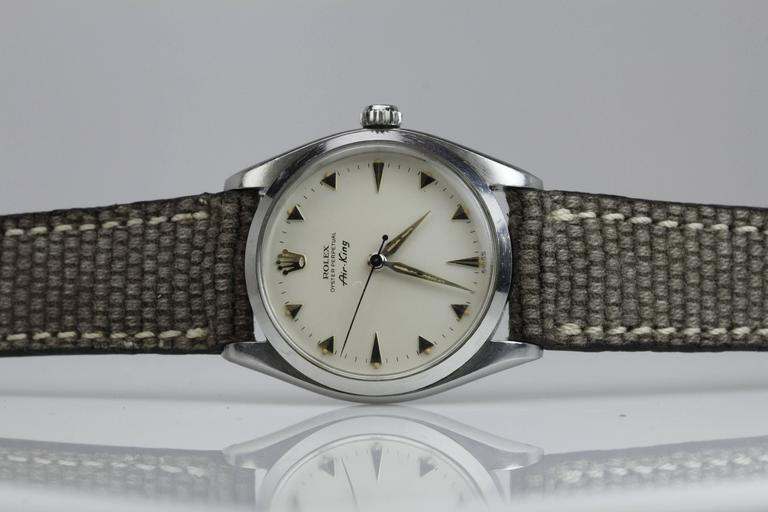 Rolex Stainless Steel Air King automatic Wristwatch Ref 5500, circa 1958 5