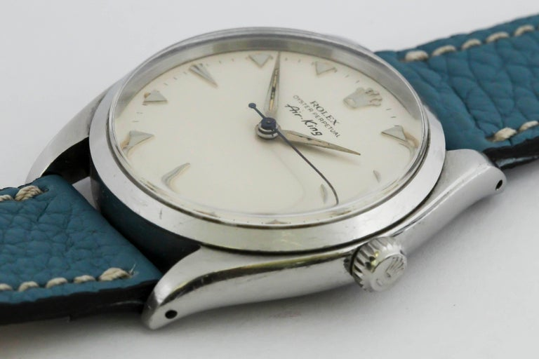Rolex Stainless Steel Air King automatic Wristwatch Ref 5500, circa 1958 8
