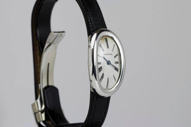 Rare Cartier Ladies Platinum Baignoire Wristwatch 3
