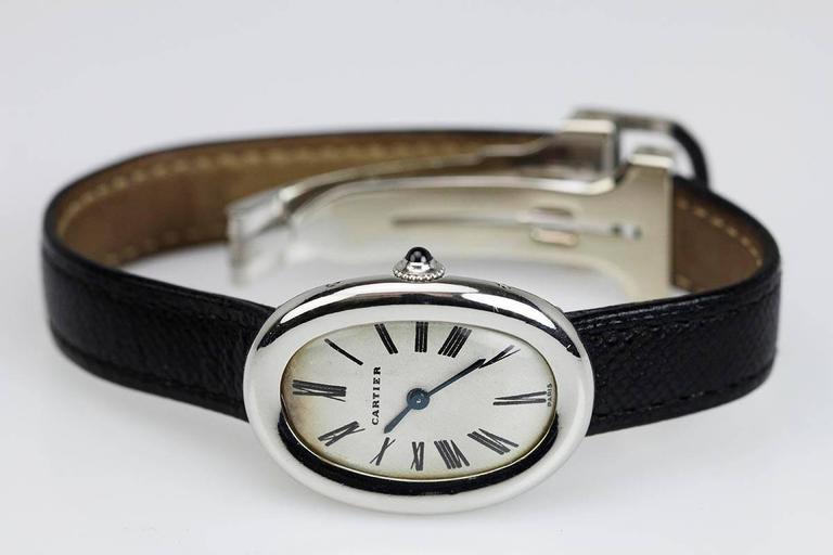 Rare Cartier Ladies Platinum Baignoire Wristwatch 9