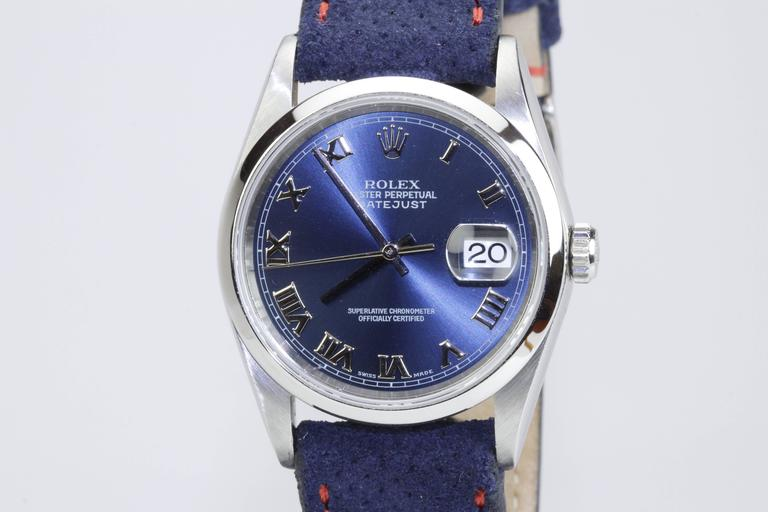 Rolex Stainless Steel DateJust blue dial automatic Wristwatch Ref 16200  5