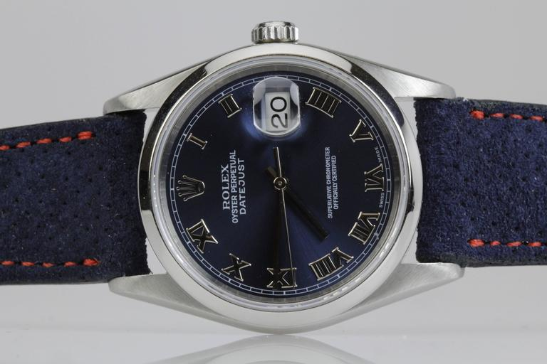 Rolex Stainless Steel DateJust blue dial automatic Wristwatch Ref 16200  7