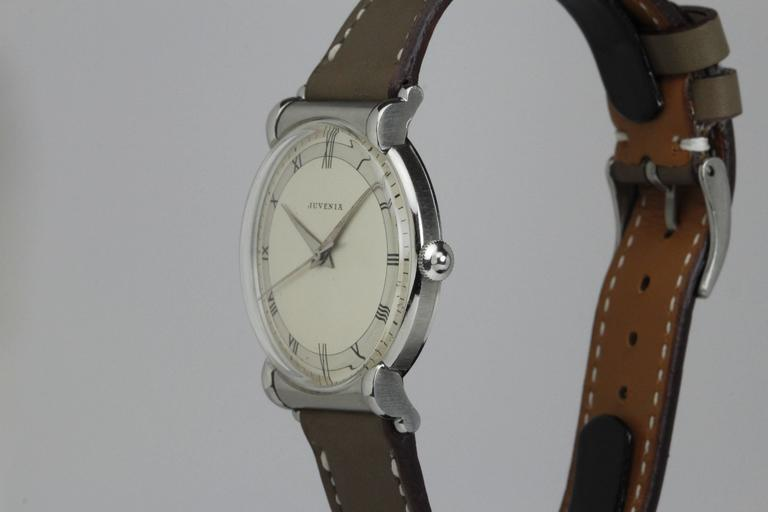 Juvenia Stainless Steel Calatrava Style Manual Wind Wristwatch In Excellent Condition For Sale In Miami Beach, FL