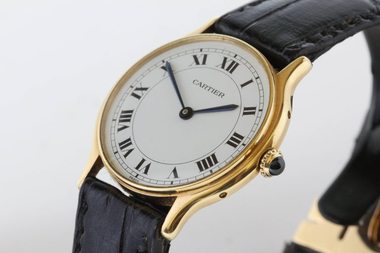 Cartier Yellow Gold Manual Wind Wristwatch, circa 1980s 7
