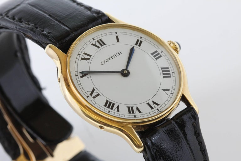Cartier Yellow Gold Manual Wind Wristwatch, circa 1980s 8