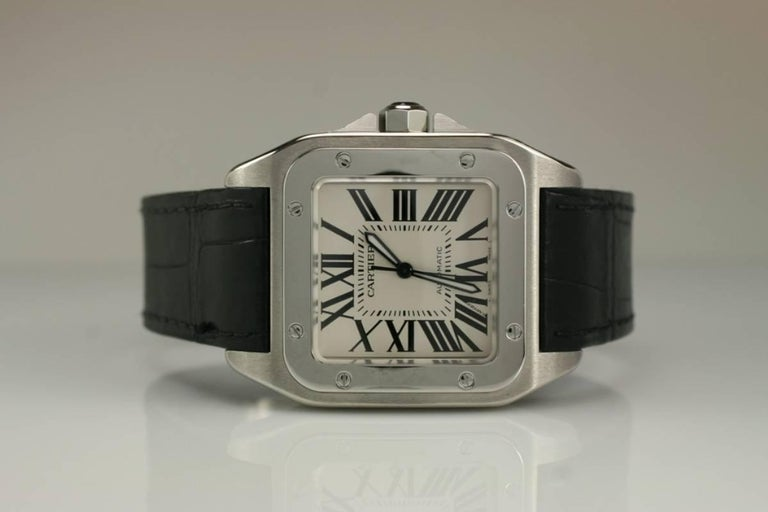 Cartier Stainless Steel Small Santos 100 deployant clasp automatic wristwatch  2