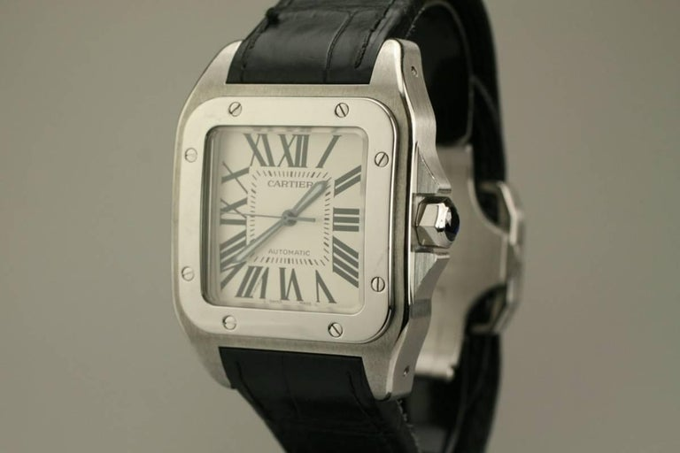 Cartier Stainless Steel Small Santos 100 deployant clasp automatic wristwatch  7