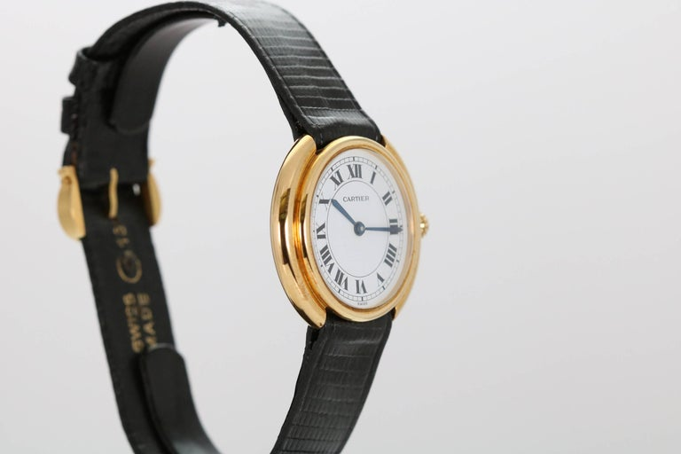 Cartier Yellow Gold Oval Automatic Wristwatch 4