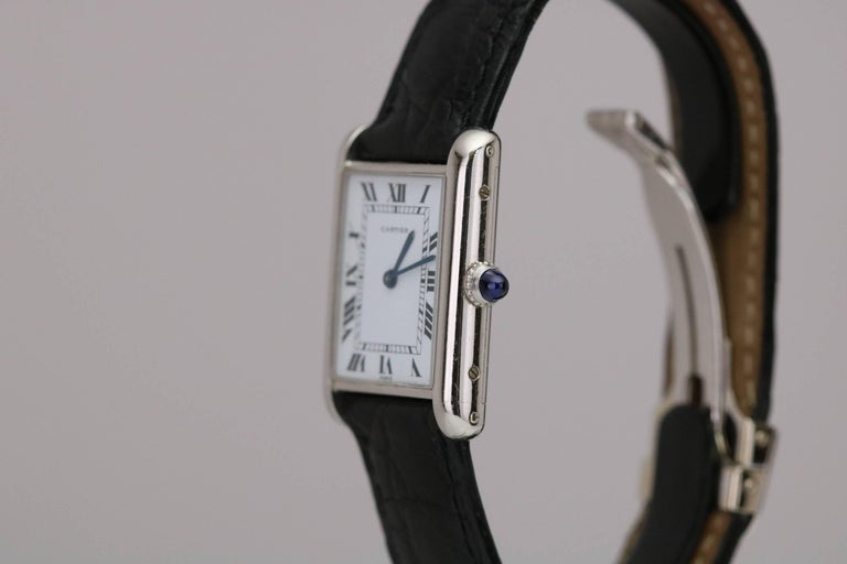 Cartier Platinum Tank Manual Wristwatch, circa 1970s In Excellent Condition For Sale In Miami Beach, FL