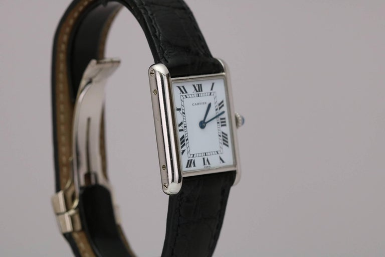 Men's Cartier Platinum Tank Manual Wristwatch, circa 1970s For Sale
