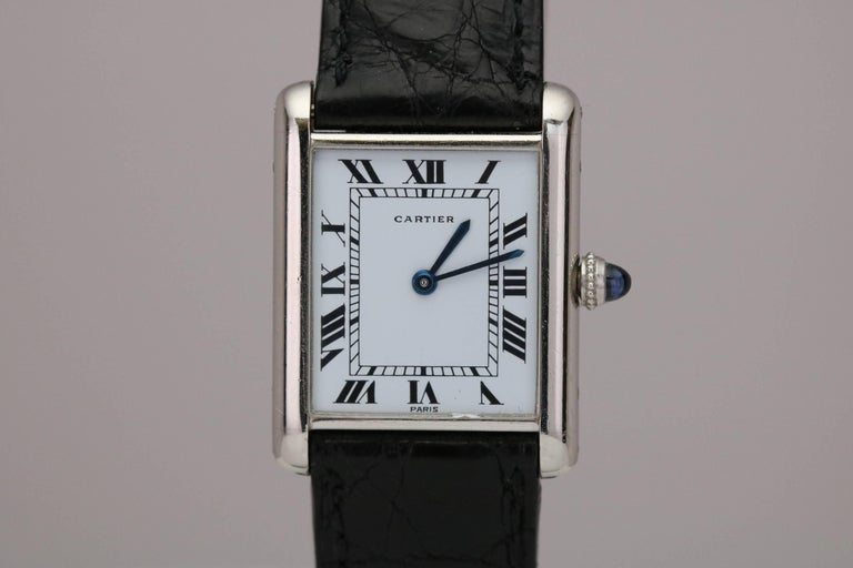 Cartier Platinum Tank Manual Wristwatch, circa 1970s For Sale 4