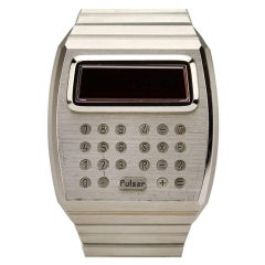 Pulsar Stainless Steel Digital Led Calculator Wristwatch Ref 1823-2