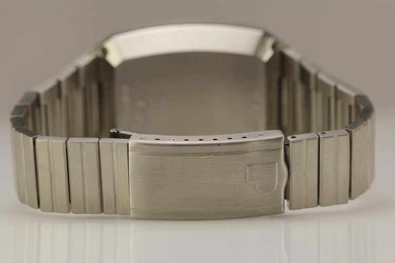 Pulsar stainless steel digital LED calculator wristwatch. It was called a Time computer/calculator reference 1823-2