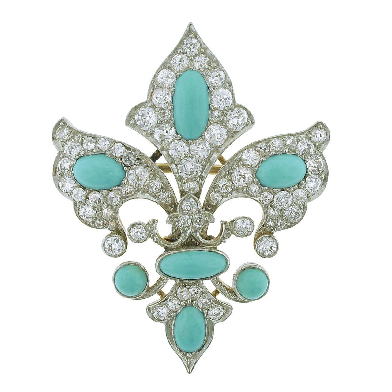 Belle Époque Turquoise Diamond Fleur-de-lis  Brooch/Pendant Combination