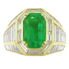 Picchiotti Emerald and  Diamond Gold Ring