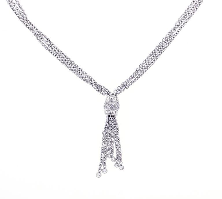 Penny Preville Diamond Platinum Tassel Necklace