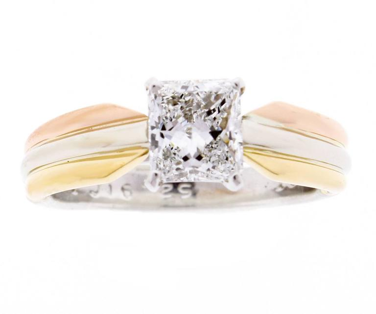 Cartier Trinity Radiant Diamond Gold Platinum Engagement Ring   2