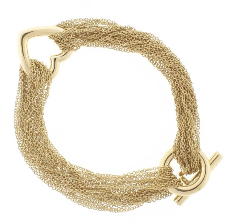 Multi Strand Gold Mesh Link Heart Toggle Bracelet For