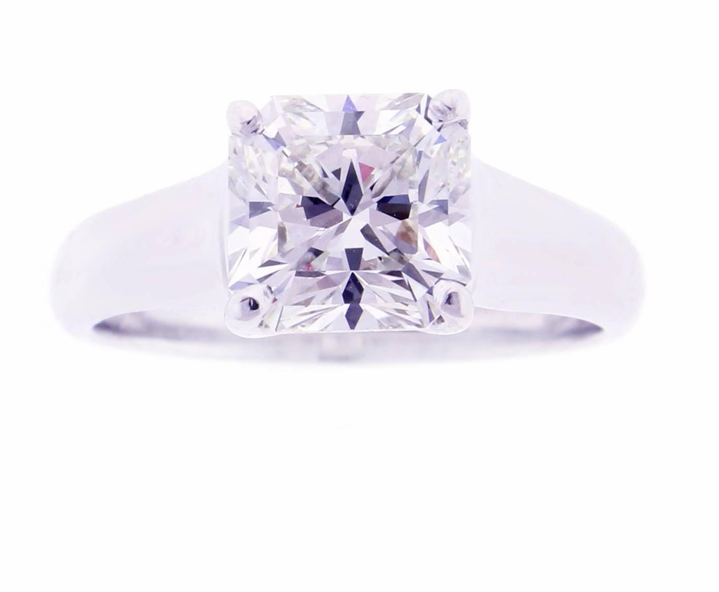 Tiffany and Co Lucida 2 07 Carat Diamond Platinum Ring For Sale at 1stdibs