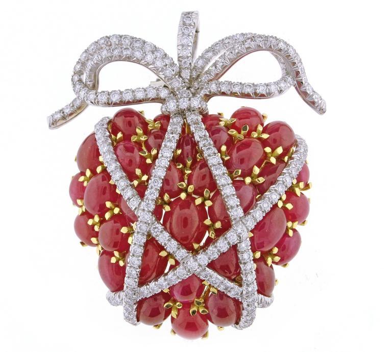 Verdura Wrapped Ruby Diamond Heart Brooch