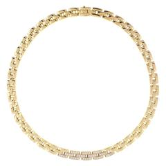 Cartier Maillon Panthere Three Row Diamond Gold Link Necklace