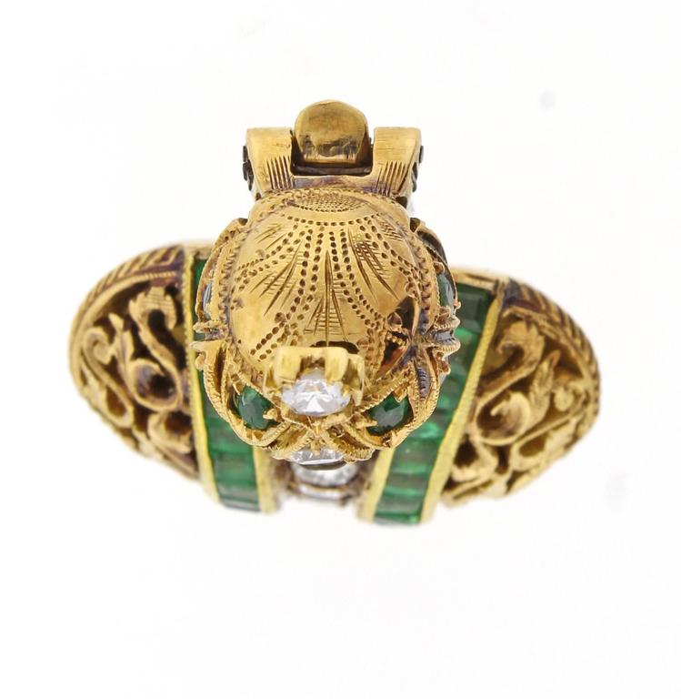 Nardi Emerald Diamond Gold Blackamoor Brooch 2